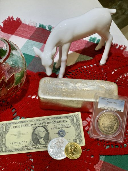 Collectible coins, silver bars and gold bullion